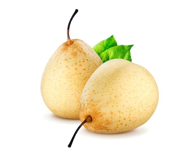 Nashi. chinese peren die op witte achtergrond worden geïsoleerd