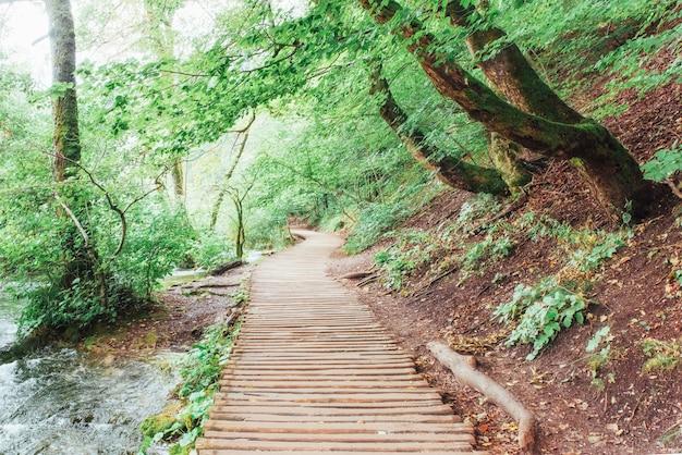 Nationaal park plitvicemeren, toeristische route op de houten vloer langs de waterval