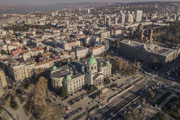 Nationale assemblee van de republiek servië. luchtfoto