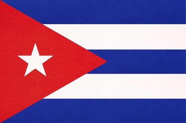 Nationale de stoffenvlag van cuba, symbool van het caraïbische land van internationale wereldamerika