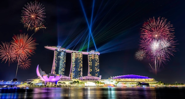 Nationale feestdag singapore, mooi vuurwerk in marina bay