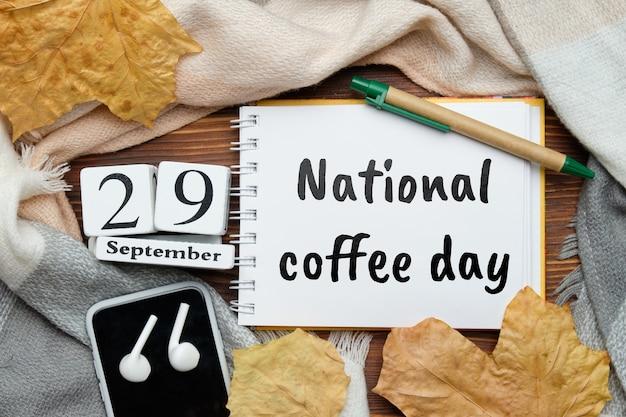 Nationale koffiedag van de herfstmaandkalender september.