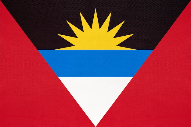 Nationale stof vlag van antigua en barbuda, textiel achtergrond.