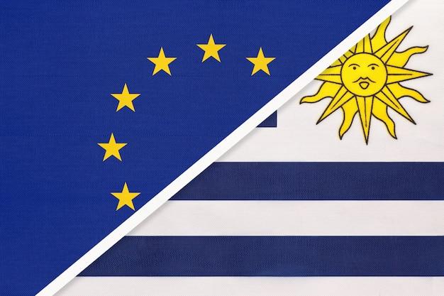 Nationale vlag van de europese unie of de eu versus de oosterse republiek uruguay