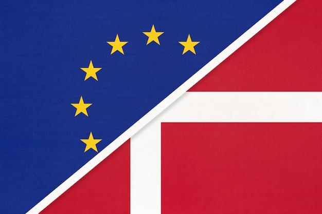 Nationale vlag van de europese unie of de eu versus denemarken