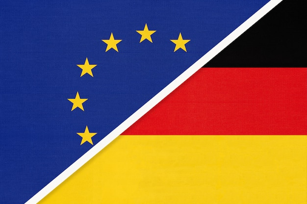 Nationale vlag van de europese unie of de eu versus duitsland