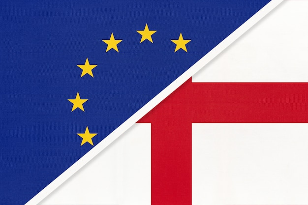 Nationale vlag van de europese unie of de eu versus engeland