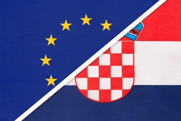 Nationale vlag van de europese unie of de eu versus kroatië