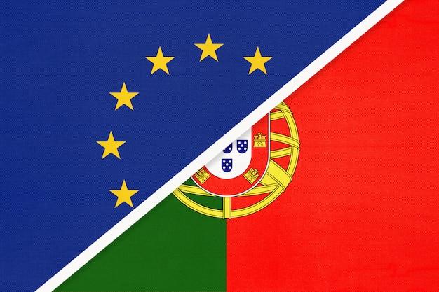 Nationale vlag van de europese unie of de eu versus portugal