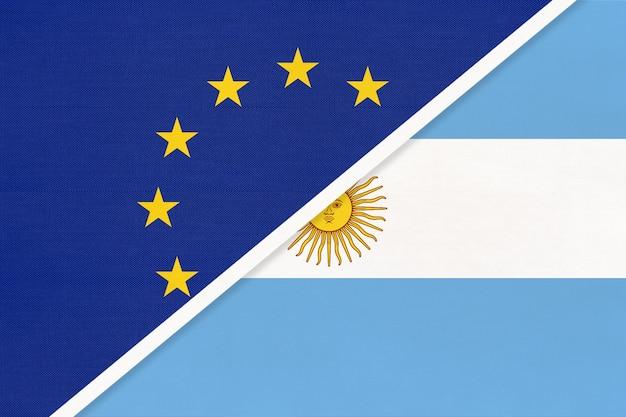 Nationale vlag van de europese unie of eu versus argentinië of argentijnse republiek