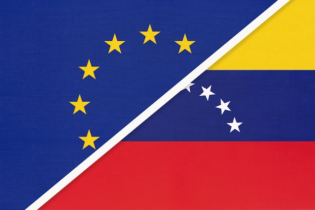 Nationale vlag van de europese unie of eu versus bolivariaanse republiek venezuela