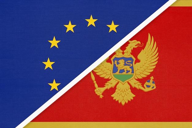 Nationale vlag van de europese unie of eu versus montenegro
