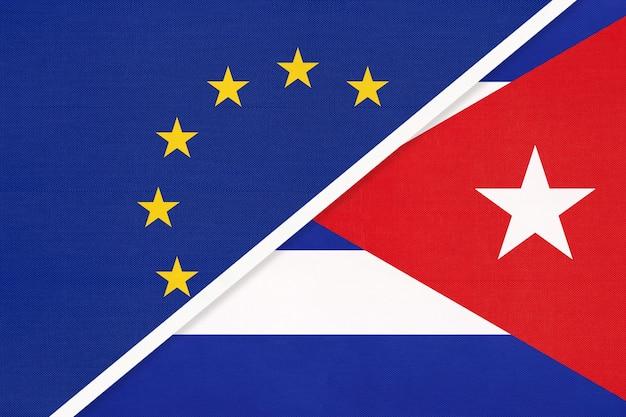 Nationale vlag van de europese unie of eu versus republiek cuba