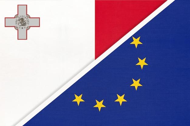 Nationale vlag van de europese unie of eu versus republiek malta