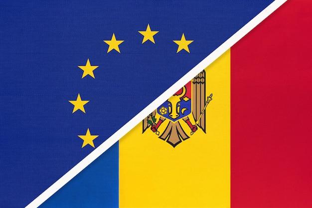 Nationale vlag van de europese unie of eu versus republiek moldavië