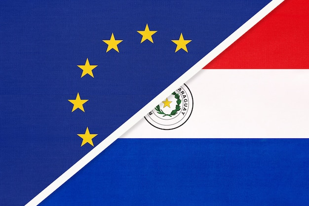 Nationale vlag van de europese unie of eu versus republiek paraguay