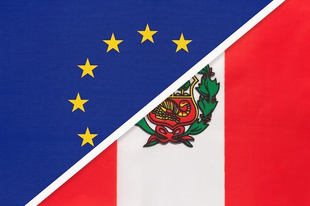 Nationale vlag van de europese unie of eu versus republiek peru