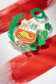 Nationale vlag van peru met symbool