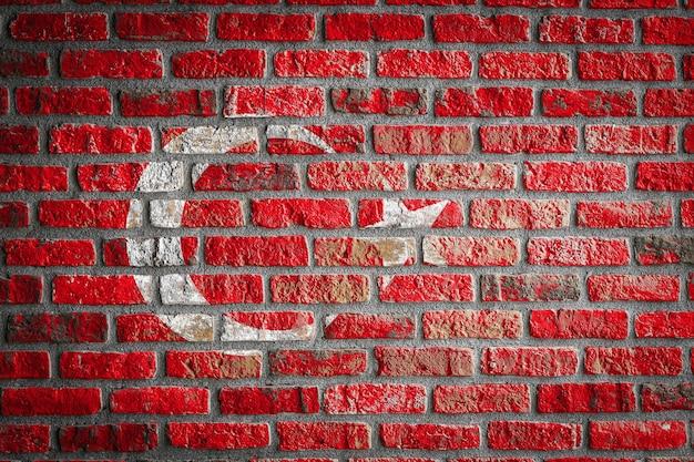 Nationale vlag van turkije op een oude bakstenen muur