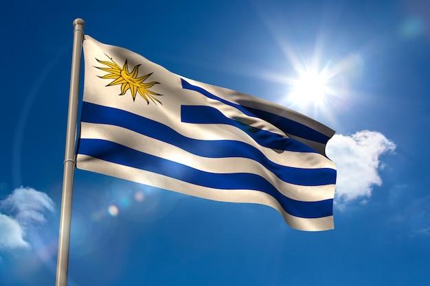 Nationale vlag van uruguay op vlaggenmast