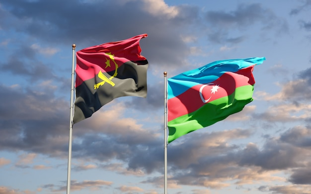 Nationale vlaggen van azerbeidzjan en angola
