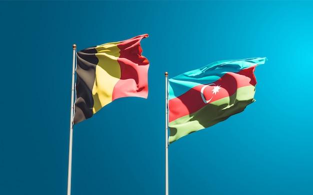 Nationale vlaggen van azerbeidzjan en belgië