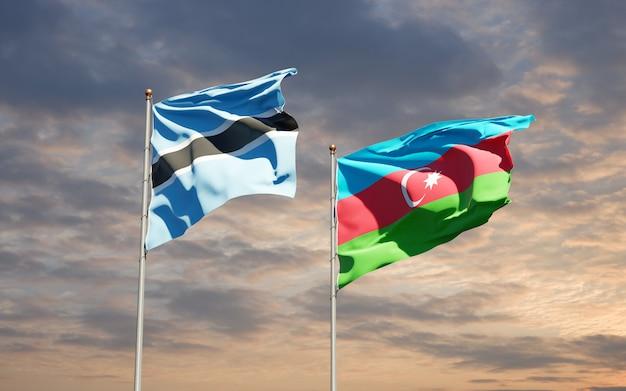 Nationale vlaggen van azerbeidzjan en botswana