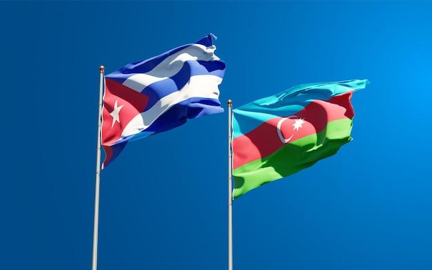 Nationale vlaggen van azerbeidzjan en cuba