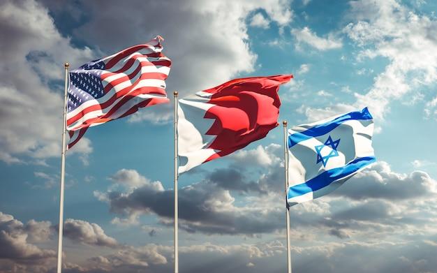 Nationale vlaggen van de vs bahrein israël