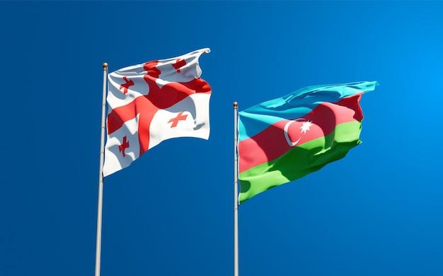 Nationale vlaggen van georgië en azerbeidzjan