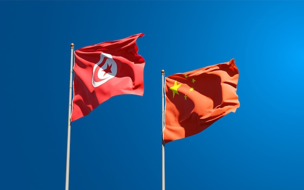 Nationale vlaggen van tunesië en china samen