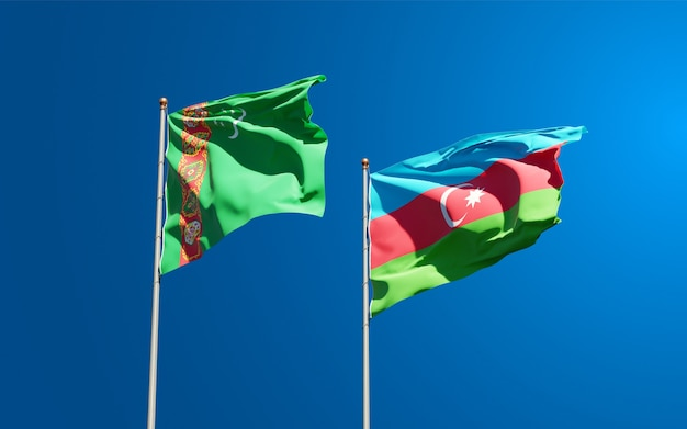 Nationale vlaggen van turkmenistan en azerbeidzjan samen