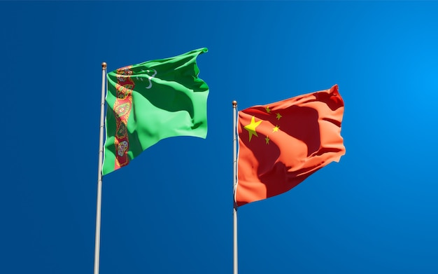 Nationale vlaggen van turkmenistan en china