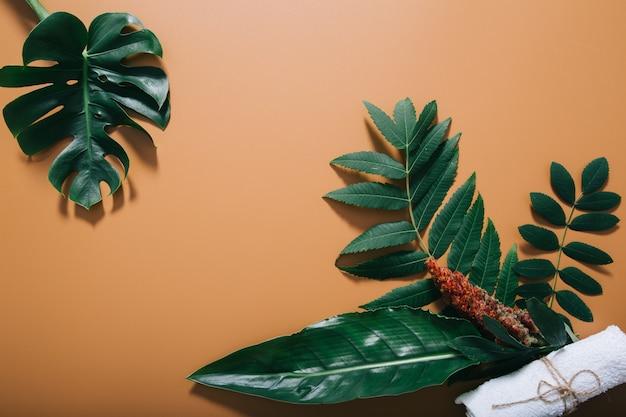 Natural spa omlijst door greens en handdoek op bruine muur