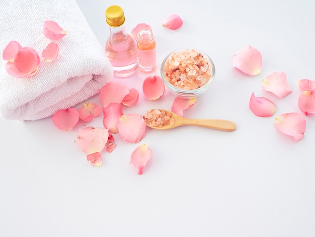 Natural spa set rose en roze himalayazout