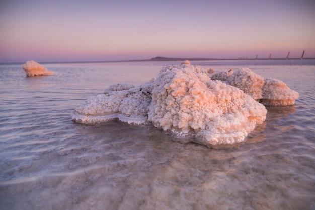 Natuur prachtige zonsondergang op het meer. zoutmeer in de regio astrachan. helder water. roze zonsonderganglandschap.