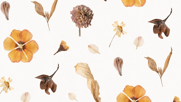 Natuurlijk gedroogd bloemenbehangpatroon