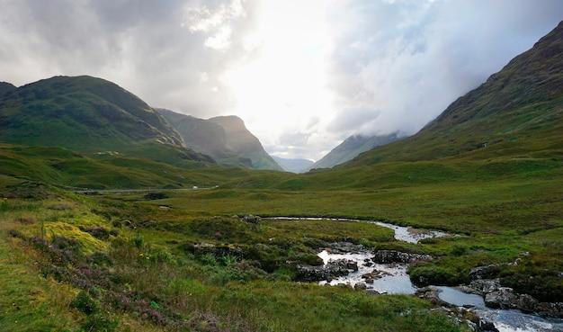 Natuurlijk landschap van de hooglanden in schotland