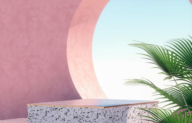 Natuurlijk schoonheidspodium voor productvertoning met terrazzo