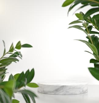 Natuurlijk wit platform podium leeg voor showproduct met groene planten vervagen voorgrond 3d render