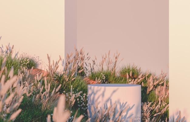 Natuurlijke 3d podium met wilde bloem veld achtergrond.