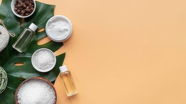 Natuurlijke cosmetica en reinigingsschijven met kopie-ruimte