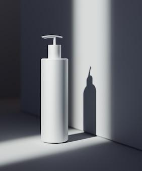 Natuurlijke cosmetische presentatiescène. productplaatsing. witte achtergrond met donkere schaduwen. 3d illustratie blog inhoud