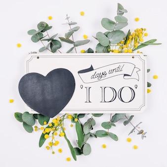 Natuurlijke decoratie met een romantische boodschap