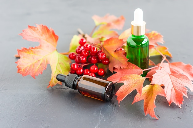 Natuurlijke etherische olie van viburnum in flessen met een druppelaar op een zwarte achtergrond, met een tak van herfst rijpe viburnum.