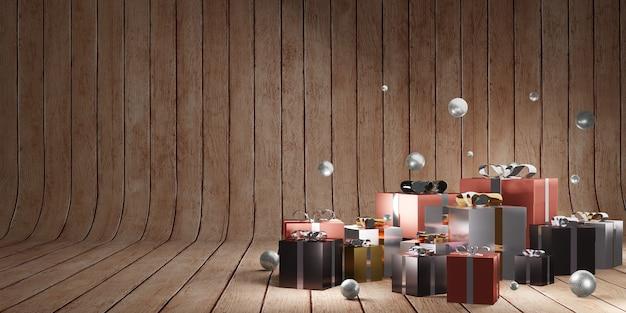 Natuurlijke houtnerf achtergrond nieuwjaar en kerstmis met geschenkdoos 3d illustratie