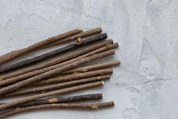 Natuurlijke kattenkruidsticks voor het schoonmaken en ontspannen van de kies van de kat, kauwsnack op grijze muur, kopie ruimte. kattentanden en producten voor kattenzorgconcept schoonmaken