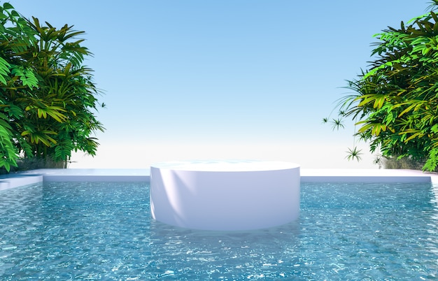 Natuurlijke scène met cilinderpodiumachtergrond in tuin- en waterzicht