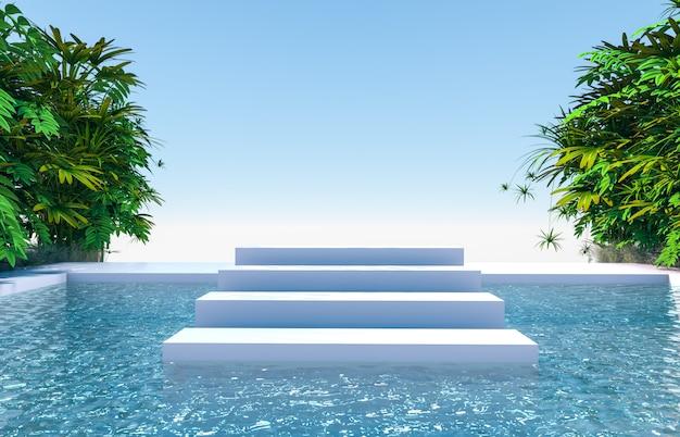 Natuurlijke scène met trap podium achtergrond in tuin en uitzicht op het water