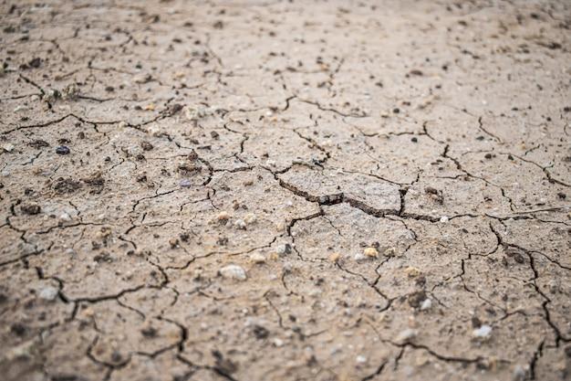 Natuurlijke scheuren in de grond tegen hitte. droge gemalen textuur.
